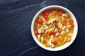 image of slating  - top down photo of chicken noodle soup with copy space on slate - JPG