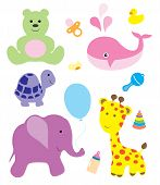 foto of baby animal  - vector illustration of cute animals and baby items - JPG