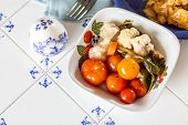 pic of pickled vegetables  - Top view of pickled vegetables in white bowl on table - JPG