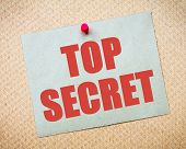 picture of top-secret  - Recycled paper note pinned on cork board - JPG