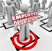 foto of orientation  - Employee Orientation words on a new worker standing on an organization chart being introduced to the team or workforce - JPG