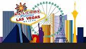 stock photo of las vegas casino  - Las Vegas Welcome sign and city  - JPG