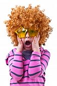 picture of rock star  - Musical kid with rock image sing with wig and star shaped glasses - JPG