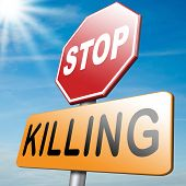 stock photo of kill  - stop killing and ban weapons to end the war and violence - JPG