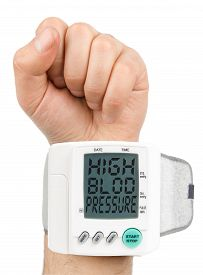 stock photo of hypertensive  - Digital Hypertension blood pressure monitor  high quality studio photo shoot - JPG