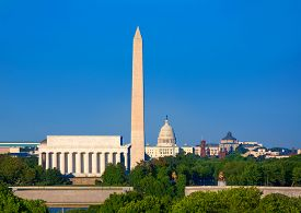 foto of memorial  - Washington DC skyline with Monument Capitol and Abraham Lincoln memorial - JPG
