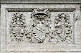 stock photo of spqr  - Symbol of Rome graved on marble - JPG