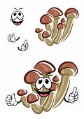 pic of agar  - Honey agaric mushrooms cartoon character with brown caps and thin long stipes for fresh healthy food design - JPG