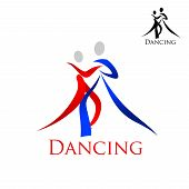 image of swirly  - Dance sporting emblem with swirly blue and red silhouettes of dancing people with caption Dancing and small black variant - JPG