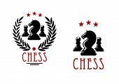 image of knights  - Chessman of black knights and pawns in chess tournament emblems design decorated by laurel wreath and stars - JPG