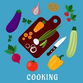 pic of beet  - Cooking process of a vegetable vegetarian salad with knife - JPG