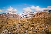 stock photo of snow capped mountains  - Snow capped mountains in the Mohave Desert  - JPG