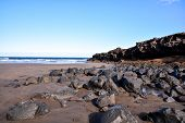 image of atlantic ocean  - Dry Lava Coast Beach in the Atlantic Ocean - JPG
