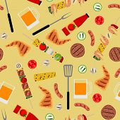 stock photo of bbq party  - Seamless background with barbecue food - JPG