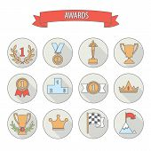 pic of medal  - set of white vector award success and victory flat icons on colorful round web buttons with trophies cups ribbons crown diadem medals medallions wreath and a podium - JPG