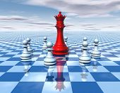 foto of chessboard  - beautiful 3d abstraction with blue chessboard and big red chess queen surrounded by white chess pawns with cloudy sky universal surreal dimensional concept illustration - JPG