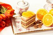 stock photo of pound cake  - Capture of Delicious creamy cake with lemon - JPG