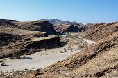 picture of unique landscape  - fantrastic Namibia moonscape landscape near town Walvis bay Kuiseb Canyon - JPG