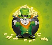 foto of pot gold  - Vector illustration of an evil leprechaun guarding a pot of gold - JPG