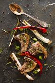 image of leek  - Lamb chops cooked on the grill with leek and red pepper - JPG