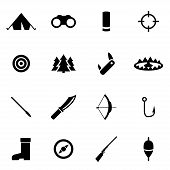 picture of duck-hunting  - Vector black hunting icon set on white background - JPG