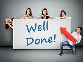 image of job well done  - Well done word writing on white banner - JPG