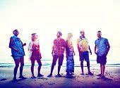foto of bonding  - Diverse Beach Summer Friends Fun Bonding Concept - JPG