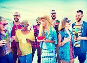 image of bonding  - Diverse Beach Summer Friends Fun Bonding Concept - JPG