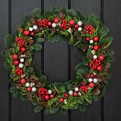 picture of mistletoe  - Christmas wreath with red and silver bauble decorations - JPG