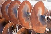 stock photo of auger  - Augers for drilling of the ground for laying drain pipes - JPG