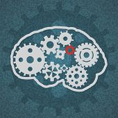 pic of cogwheel  - concept vector icon of abstract brain or mind with cogwheels - JPG