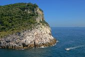 picture of saracen  - The Italian coast with a cliff and boat - JPG
