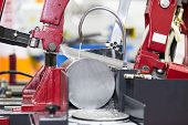 pic of sawing  - band saw cutting tool steel bar by automatic feed  - JPG