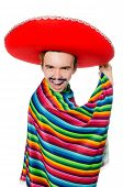 foto of moustache  - Funny young mexican with false moustache isolated on white - JPG