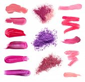 Collage of decorative cosmetics on white background. Beauty and makeup concept. poster