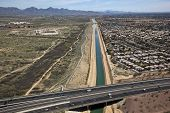 image of piestewa  - Arizona Canal running under State Route 51 - JPG