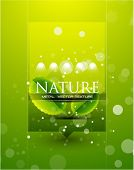 Vector promotional web box. Abstract glass nature background