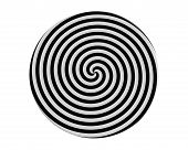 stock photo of hypnotizing  - Hypnotic spiral on the round plate 3d render - JPG