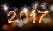 Happy new year 2017, celebration theme. poster