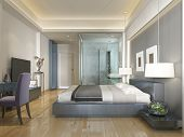 Modern Hotel Room Contemporary Style With Elements Of Art Deco. poster