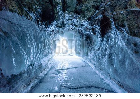 Winter Landscape Frozen Ice Cave