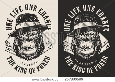 Tshirt Print With Gangster Gorilla