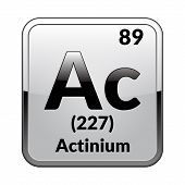 Actinium Symbol.chemical Element Of The Periodic Table On A Glossy White Background In A Silver Fram poster