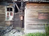 Conflagration. Elements Of The Burned Wood House. Burned House After Fire, Ruined Building Room Insi poster