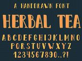 Handdrawn Inky Sans Serif Alphabet. Uppercase Tall And Thin Letters And Symbols With Second Color Sh poster