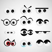 image of animated cartoon  - Cartoon eye set Vector illustration - JPG
