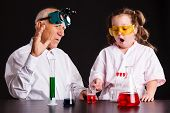 The Process Of Chemical Experiments.girl Doing A Chemical Experiment poster
