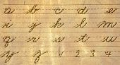 stock photo of cursive  - Old Fashioned Cursive Writing Guide of Letters and Numbers - JPG