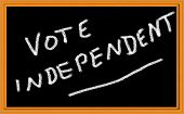 pic of caucus  - vote independent written on chalkboard - JPG