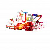 Jazz Music Typographic Colorful Background With Trumpet And Violoncello Vector Illustration. Artisti poster